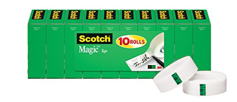 Scotch Brand Magic Tape, Standard Width, Versatile, The Original, Engineered For Office And Home Use, 3/4 X 1000 Inches, Boxed, 10 Rolls (810P10K)