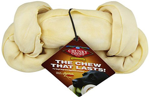 Chunky Chews 9 -10  Glucosamine Natural Rawhide Safety-Knot Bone For Large Dogs