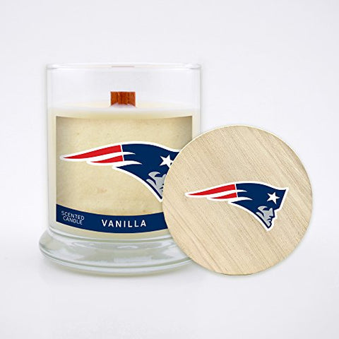 Worthy Promo Nfl New England Patriots Vanilla Scented Candle, 8 Oz, Clear