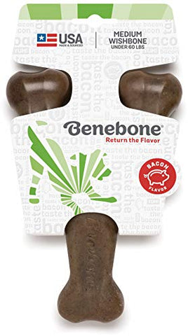 Benebone Wishbone Durable Dog Chew Toy For Aggressive Chewers, Made In Usa, Medium, Real Bacon Flavor