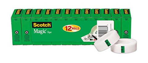 Scotch Brand Magic Tape, Standard Width, Writeable, Invisible, Engineered For Repairing, 3/4 X 1000 Inches, Boxed, 12 Rolls (810K12)
