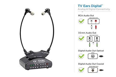 Tv Ears Digital Wireless Headset System, Connects To Both Digital And Analog Tvs, Tv Hearing Aid Device For Seniors And Hard Of Hearing, Voice Clarifying, Dr Recommended-11741