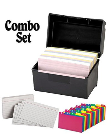 Plastic Index Card Flip Top File Box Holds 300 3 X 5 Cards, Matte Black, With Poly Card Guides, A-Z, 3 X 5 -Inch, And Heavy Weight Index Cards, 3  X 5 , Ruled, White, 100/Pack (3X5 Inch)