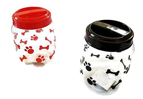 Cats Bpa-Free Plastic Airtight Pet Treat &Amp; Food Storage Containers Canisters Black &Amp; Red Paw Print (Set Of 2)