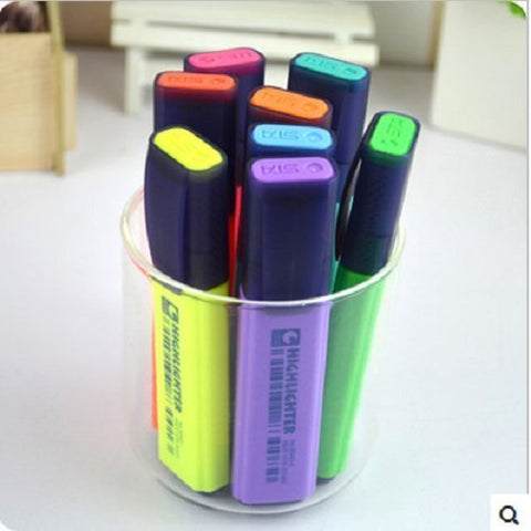 Udtee 1Pack New/Praticle Green/Blue/Yellow/Red/Purple/Hot Pink/Orange/Blue-Green Color Cute-Style Highlighters/Nite Writer Pens