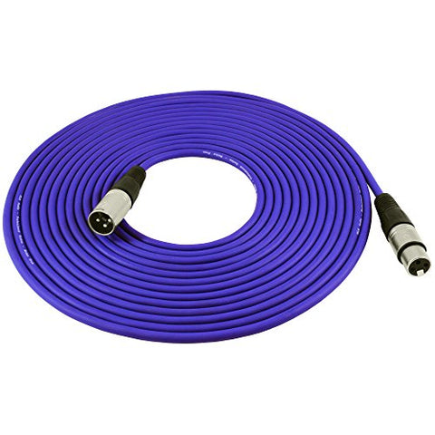 Gls Audio 25Ft Mic Cable Patch Cords - Xlr Male To Xlr Female Purple Microphone Cables - 25' Balanced Mike Snake Cord - Purple