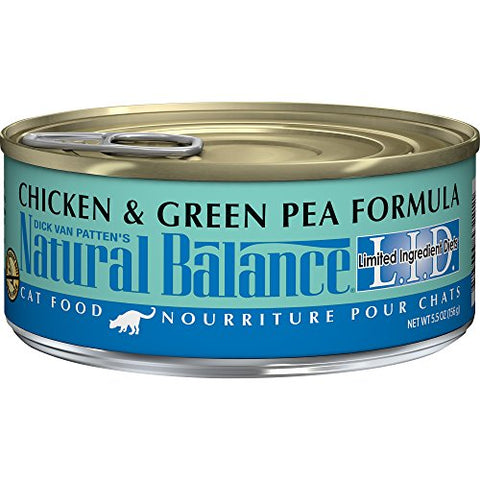 Natural Balance L.I.D. Limited Ingredient Diets Wet Cat Food, Chicken &Amp; Green Pea Formula, 5.5-Ounce Can