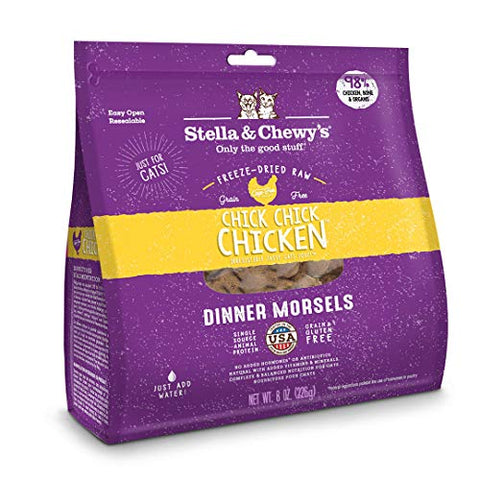 Stella &Amp; Chewy'S Freeze-Dried Raw Chick, Chick, Chicken Dinner Morsels Grain-Free Cat Food, 9 Oz Bag
