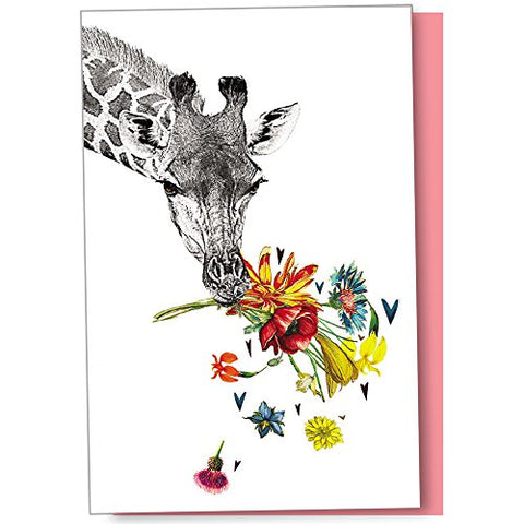 Tree-Free Greetings Eco Notes 12-Count Checking In Giraffe Blank Notecard Set With Envelopes, All Occasion, For Animal Lovers, (Fs56865)