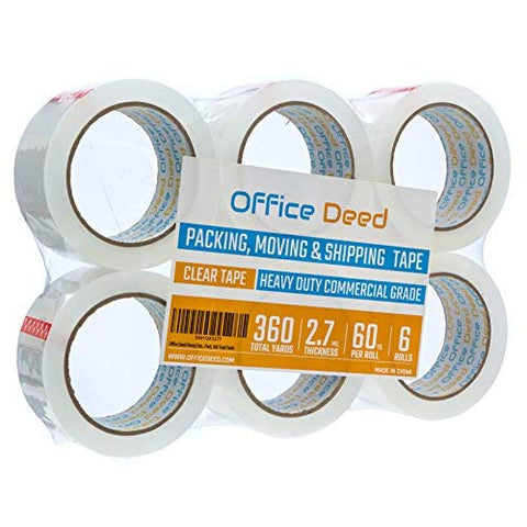 Office Deed Heavy Duty Packaging Tape, Clear Packing Tape Designed For Moving Boxes, Shipping, Commercial Grade 2.7Mil Thickness, 60 Yards, 360 Total Yards