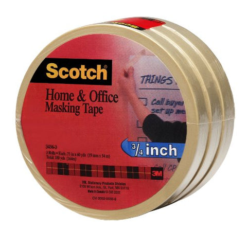 Scotch(R) Home And Office Masking Tape 3436-3, 3/4-Inch X 54.6 Yards,