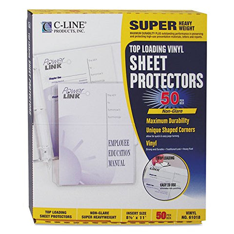 C-Line 61018 Super Heavyweight Vinyl Sheet Protector, Nonglare, 2 , 11 X 8 1/2 (Box Of 50)