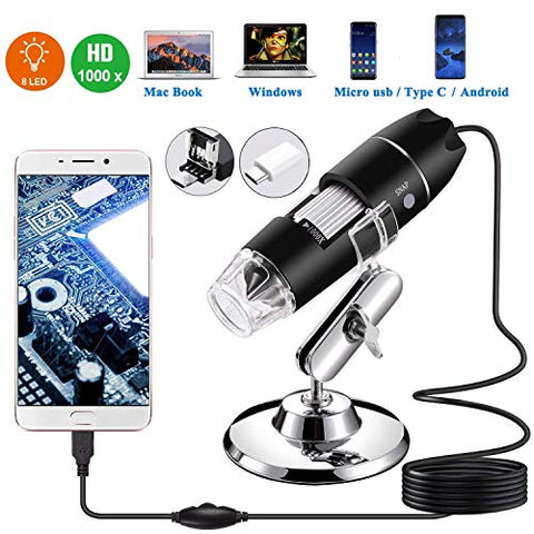 Usb Microscope,1000X Zoom 1080P Digital Mini Microscope Camera With Otg Adapter And Metal Stand,Compatible For Micro Usb Type-C Android, Windows Mac Linux