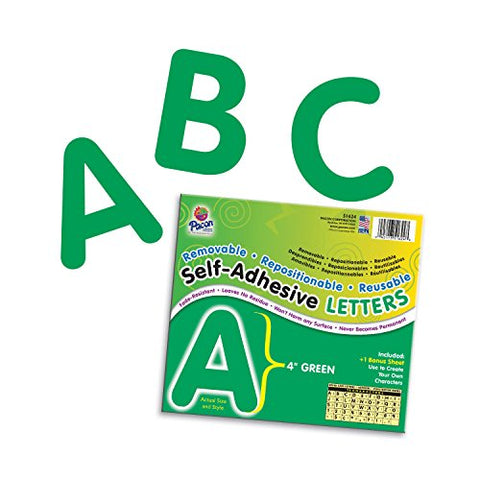 Pacon Pac51624 Self-Adhesive Letters - Removable, Repositionable, Reusable, 4 , Green, 78 Pieces