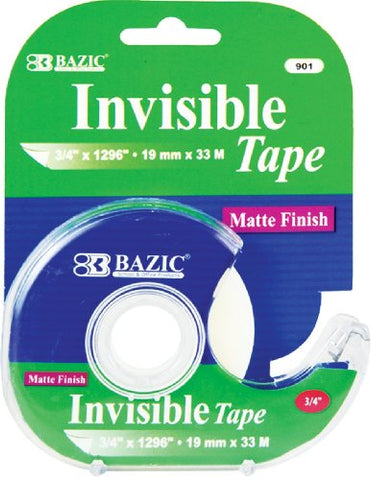 Bazic 3/4  X 1296  Invisible Tape W/ Dispenser (Case Of 24)