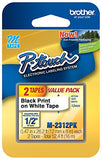 Brother P-Touch M Series Tape Cartridges For Labelers, 1/2  X 26 1/5', White (M2312Pk)