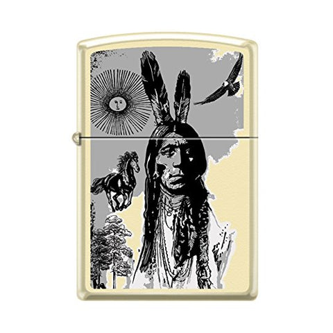 Zippo Indian Portrait Native American Collage Lighter