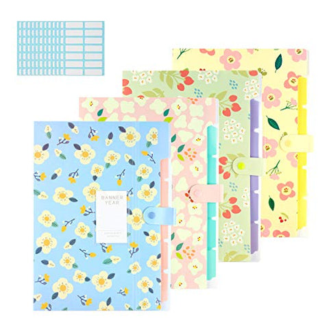Expanding File Folder - 4 Pcs Floral Printed Accordian File Organizer With 5 Pockets Plastic A4 Letter Size Document Organizer And 168 Pcs File Folder Labels For School And Office