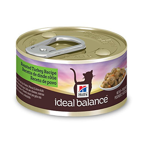 Hill'S Ideal Balance Adult Wet Cat Food, Roasted Turkey Recipe Canned Cat Food, 2.9 Oz,
