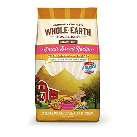 Merrick Whole Earth Farms Grain Free Small Breed Recipe With Chicken &Amp; Turkey Dry Dog Food, 4 Lbs.