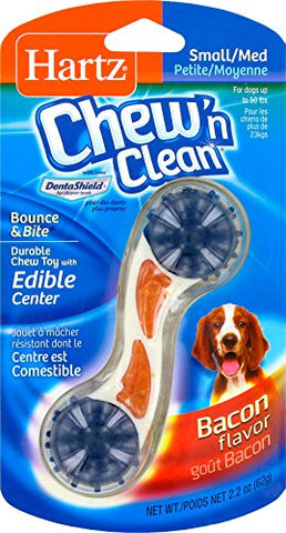 Hartz Chew 'N Clean Bounce &Amp; Bite Bacon Flavored Dental Dog Chew Toy And Treat - Small/Medium