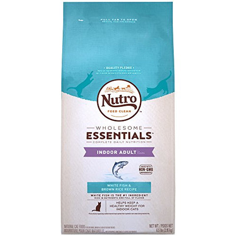 Nutro Wholesome Essentials Indoor White Fish &Amp; Brown Rice Recipe Adult Dry Cat Food 6.5 Pounds