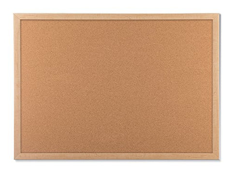 U Brands Cork Bulletin Board, 23 X 17 Inches, Light Birch Wood Frame