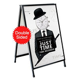 T-Sign Heavy Duty Slide-In Folding A-Frame Sidewalk Sign 24'' X 36'' Black Coated Steel Metal Double-Sided With Two Corrugated Plastic Poster Boards For Outdoor Advertisement Use