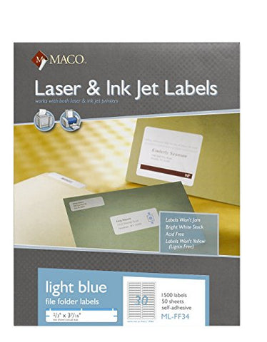 Maco Laser/Ink Jet Light Blue File Folder Labels, 2/3 X 3-7/16 Inches, 30 Per Sheet, 1500 Per Box (Ml-Ff34)