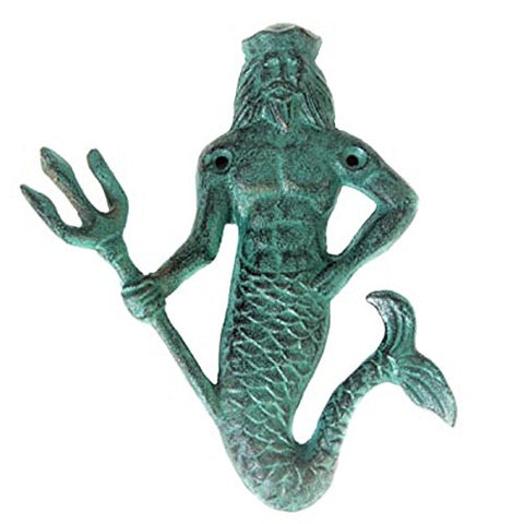 Cast Iron Neptune Hook Green With Mounting Hardware Bronze Verdigris Patina Perfect King Of The Sea Merman For Keys, Coats, Hats And Towels