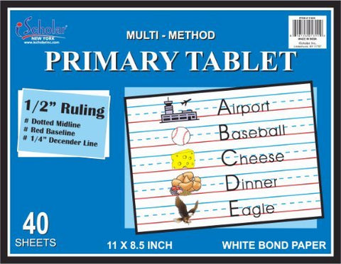 Ischolar Multi-Method Primary Tablet.5 Inch Ruling, 40 Sheets, 11 X 8.5 Inches (11803)