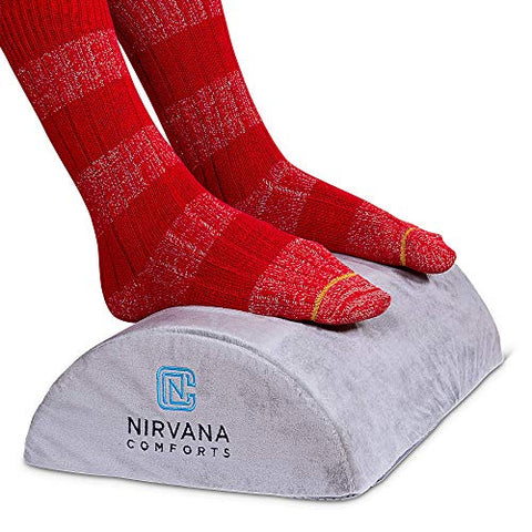 Desk Foot Rest Cushion By Nirvana Comforts - Comfortable Under Desk Foam Pillow For Office Or Airplane - Ergonomic Foot Elevation - Padded For Sofa Or Chair Back - Relief For Plantar Fasciitis