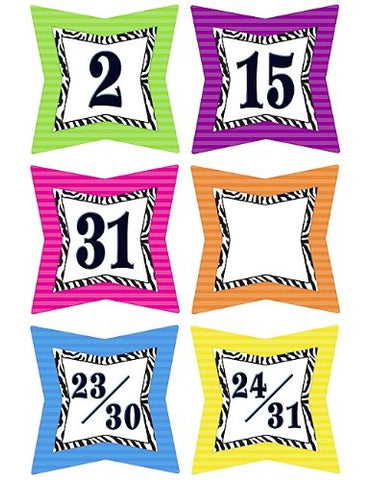 Teacher Created Resources Colorful Zebra Print Calendar Days (5213)