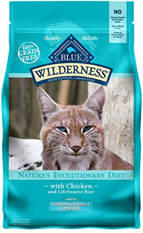 Blue Buffalo Wilderness High Protein Grain Free, Natural Adult Indoor Control Hairball Dry Cat Food, Chicken 5-Lb
