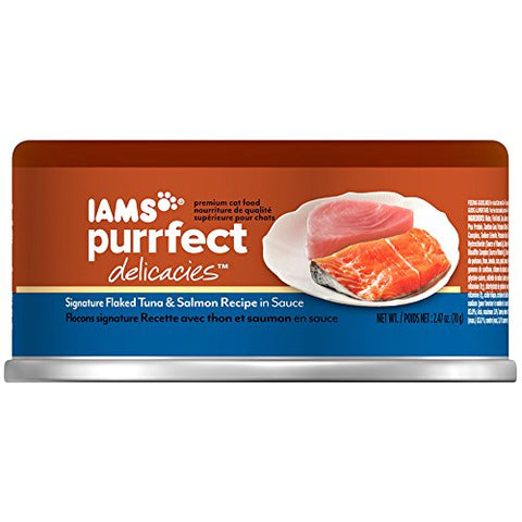 Iams Purrfect Delicacies Signature Flaked Tuna And Salmon In Sauce Wet Canned Cat Food 2.47 Oz.