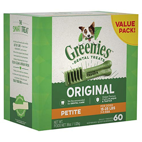 Greenies Original Petite Dental Dog Treats, 36 Oz. Pack (60 Treats)