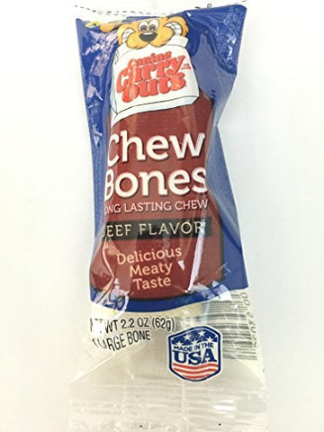 Chew Bones Long Lasting Chew Large Bone Beef Flavor 2.2 Oz.