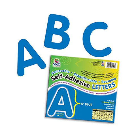 Pacon Pac51623 Self-Adhesive Letters - Removable, Repositionable, Reusable, 4 , Blue, 78 Pieces