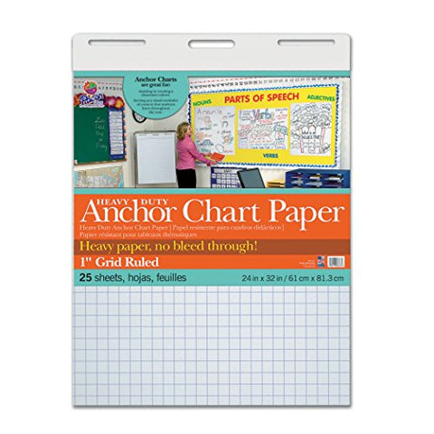 Pacon Pac3373 Heavy Duty Anchor Chart Paper, 1  Grid Ruled, 24  Width, 32  Length, 25 Sheets