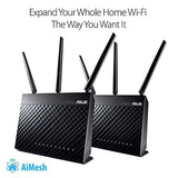 Asus Whole Home Dual-Band Aimesh Router (Ac1900) For Mesh Wifi System (Up To 1900 Mbps) - Aiprotection Network Security By Trend Micro, Adaptive Qos &Amp; Parental Control (Rt-Ac68U)