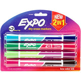 Expo 1944656 2-In-1 Dry Erase Markers, Chisel Tip, Assorted, 4-Count