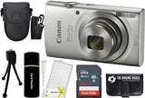 Canonpowershot Elph 180 20Mp 8X Zoom Digital Camera (Silver) + 32Gb Card + Reader + Case + Accessory Bundle