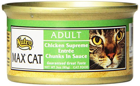 Nutro Max Cat Adult Chicken Supreme Entre Chunks In Sauce Canned Cat Food,3Oz-