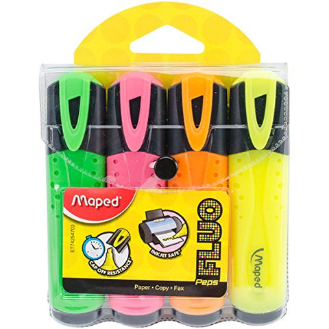 Maped Fluo Peps Classic Highlighters, Assorted Colors, (742547)