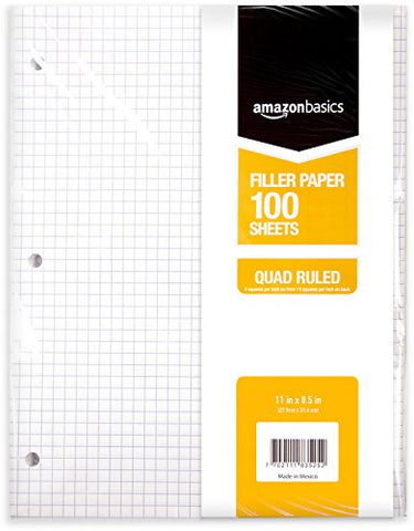 Amazonbasics Graph Ruled Loose Leaf Filler Paper, 100-Sheet, 11  X 8.5 , - 583524