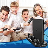 Pecham Vertical Stand For Ps4 Slim / Ps4 With Cooling Fan, Dual Controller Charger Station For Sony Playstation 4 Game Console Dualshock 4 With 3 Extra Usb Hub Port (Not For Pro)