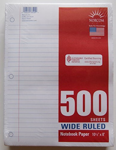 Wide Ruled Notebook Paper (500 Sheets)