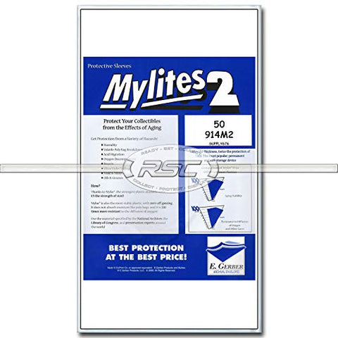 Mylites 2 Mylar Sleeves (Legal Size - 914M2) Used For Graded Comics (Cgc, Cbcs, Pgx); Measures 9  X 14-1/Of 50!