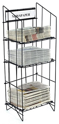 Displays2Go 43-Inch Tall Wire Newspaper Display Rack Stand With 3 Shelves 15.75 X 13.5-Inches - Black
