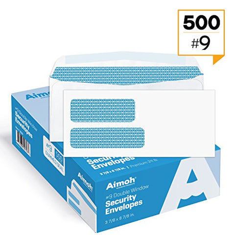 500#9 Double Window Security Tinted Business Mailing Envelopes - For Invoices, Statements And Legal Documents (Not For Check) Gummed Closure - Size 3-7/8 X 8-7/8 - White - 24 Lb - 500 Count (30129)
